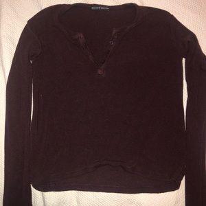 Loose Burgundy Brandy Melville long sleeve shirt